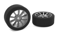 Team Corally - Attack foam tires - 1/10 GP touring - 37 shore - 26mm Front - Carbon rims - 2 pcs