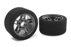 Team Corally - Attack foam tires - 1/8 Circuit - 35 shore - Front - Carbon rims - 2 pcs