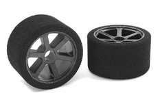 Team Corally - Attack foam tires - 1/12 Circuit - 30 shore Pink - Front - Carbon rims - 2 pcs