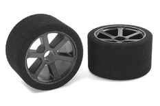 Team Corally - Attack foam tires - 1/12 Circuit - 35 shore Double Pink - Front - Carbon rims - 2 pcs