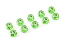Team Corally - Aluminium Nylstop Nut - M2 - Green - 10 pcs