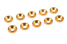 Team Corally - Aluminium Washer - for M4 Flat Head Screws - OD=10mm - Gold - 10 pcs