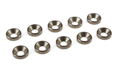 Team Corally - Aluminium Washer - for M4 Flat Head Screws - OD=10mm - Gun Metal - 10 pcs