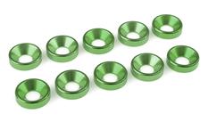 Team Corally - Aluminium Washer - for M5 Flat Head Screws - OD=12mm - Green - 10 pcs